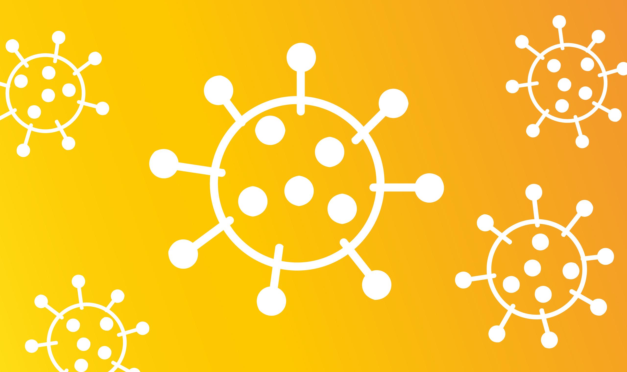 Orangenes Bild mit Viren Grafik
